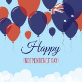 Heard and McDonald Islands Independence Day Flat Greeting Card Flying Rubber Balloons in Colors of