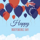 Cook Islands Independence Day Flat Greeting Card Flying Rubber Balloons in Colors of the Cook