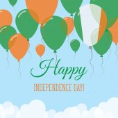 Ireland Independence Day Flat Greeting Card Flying Rubber Balloons in Colors of the Irish Flag