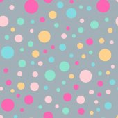 Colorful polka dots seamless pattern on bright 3 background Memorable classic colorful polka dots textile pattern Seamless scattered confetti fall chaotic decor Abstract vector illustration