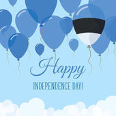 Estonia Independence Day Flat Greeting Card Flying Rubber Balloons in Colors of the Estonian Flag