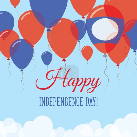 Lao Peoples Democratic Republic Independence Day Flat Greeting Card Flying Rubber Balloons in