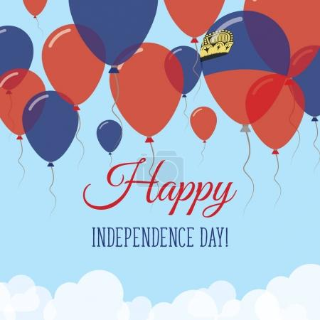 Liechtenstein Independence Day Flat Greeting Card Flying Rubber Balloons in Colors of the