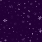 Violet snowflakes seamless pattern on purple Christmas background Chaotic scattered violet
