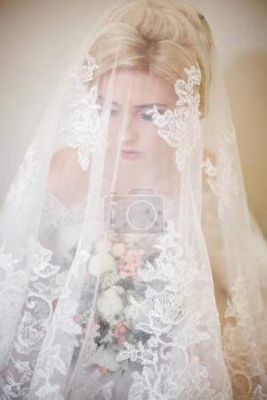 Tender young bride under veil with lace