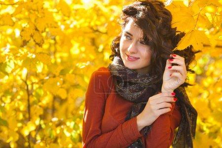 Photo pour Jeune belle femme à fond d'automne. Portrait de jeune fille attrayante en plein air - image libre de droit