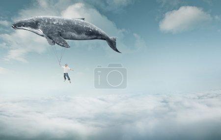 Photo pour Emmène-moi au concept du rêve. Jeune homme s'accrochant à une grosse baleine grise et volant au-dessus de beaux nuages blancs - image libre de droit