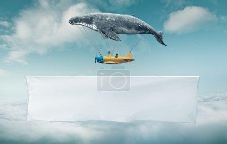 Photo pour Emmène-moi au concept du rêve. Deux mignonnes petites filles asiatiques assises dans un avion vintage fantaisiste, s'accrochant à une grosse baleine grise et survolant les nuages. Bannière blanche vierge avec un espace de copie suspendu à l'avion fantaisie - image libre de droit