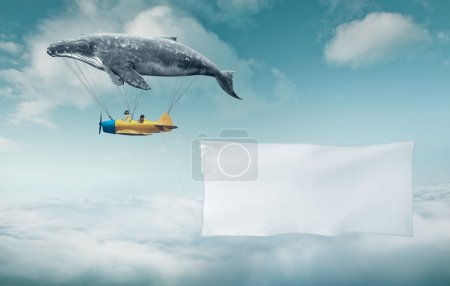 whale with aircraft and two girls over banner