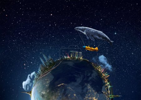 whale with aircraft and two girls over globe
