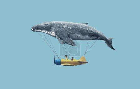 Photo pour Emmène-moi au concept du rêve. Deux mignonnes petites filles asiatiques assises dans un avion vintage, s'accrochant à une grosse baleine grise et volant au-dessus du fond bleu - image libre de droit