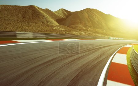 Motion blurred race track