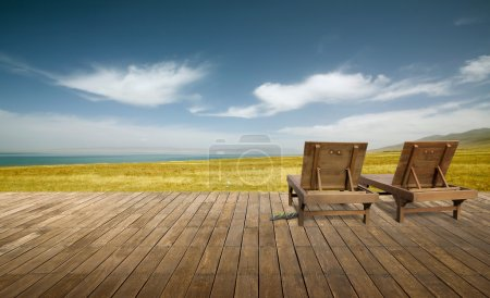 Wooden lounge with landscape view