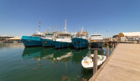 Fishing ships in harbor in Fremantle