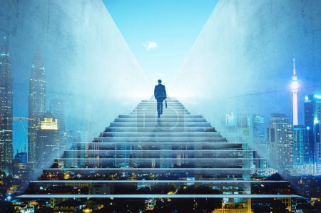 Photo for Rear view of a businessman climbing stairs to get to a large city center. Concept of success and appreciation. Double exposure - Royalty Free Image