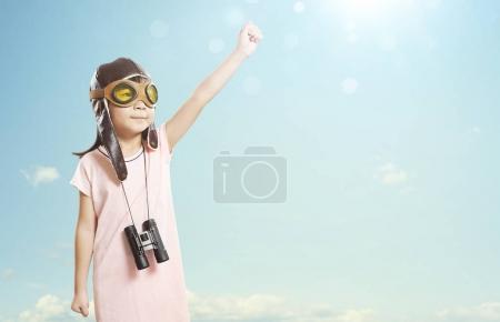 Asian girl wears aviator glasses