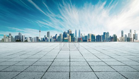 Photo for Cityscape and skyline with empty floor. - Royalty Free Image