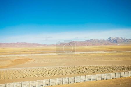 Photo pour Désert jaune tranquille, Paysages au Tibet  . - image libre de droit