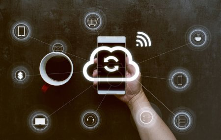 smart phone with cloud wireless icons