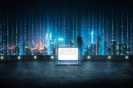 Photo for Laptop at roof top with abstract software developer programming binary computer code virtual city skyline . - Royalty Free Image