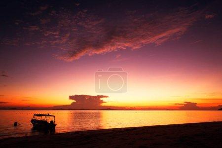 Golden dawn over the beach