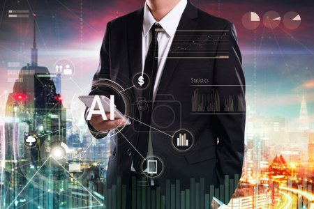Photo for Businessman using smartphone with fintech infographic icon virtual screen . Hi-tech business concept . - Royalty Free Image