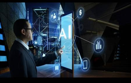 """Photo for Businessman touching """"AI"""" word on screen of digital booth with fintech infographic. Hi-tech business concept . - Royalty Free Image"""