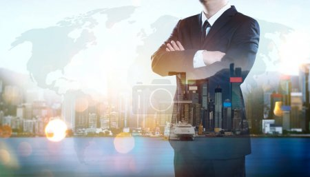 Photo for Portrait of businessman .Double exposure effect with Hong Kong city skyline business center view at sunrise . - Royalty Free Image