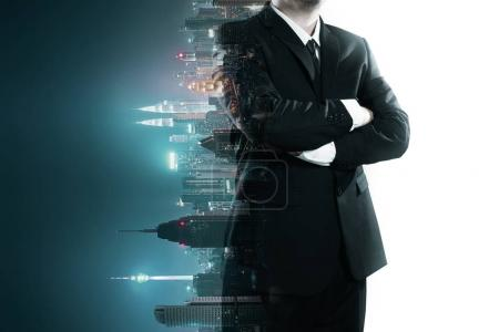 Abstract double exposure image of businessman man mix with flip night creative city background . Always stay connected concept .