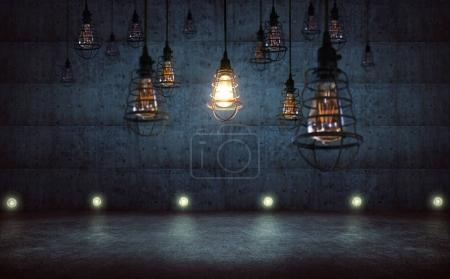 One vintage style light bulbs standing out from other bulbs,rustic cement wall background , leadership an