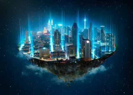 Fantasy island floating in the air with network light, communication network concept on night sky background