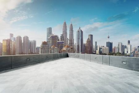 Photo for Open apace rooftop with Kuala Lumpur cityscape skyline view  . - Royalty Free Image