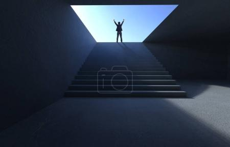 Success businessman cheering on concrete stair.