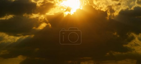 Beautiful natural sunset or sunrise and amazing clouds sky above it