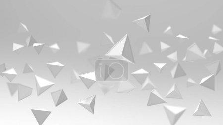 Photo pour Rendu 3D de formes géométriques triangulaires, abstrait haute touche et arrière-plan de mise au point sélectionné  . - image libre de droit
