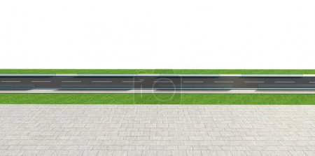 3d Render road with tunnel and greenfield, side view