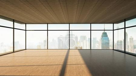 Perspective view of empty wood floor and cement ceiling interior with city skyline view . 3Mixed media .