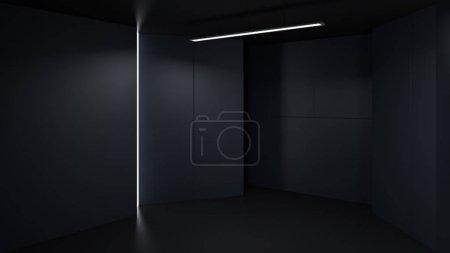 3D rendering minimalist and modern design studio room space background, low key lighting .