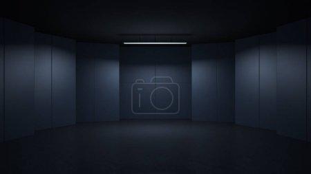 3D rendu design minimaliste et moderne studio chambre espace fond, clé de faible éclairage
