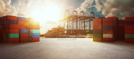 Photo for Transport industry of container cargo freight ship in shipyard port , logistics import export industry background , sunrise scene . - Royalty Free Image