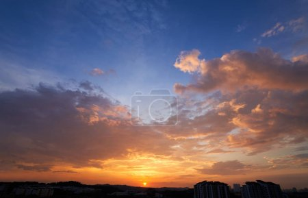 Photo for Beautiful sunset with dramatic cloud and blue sky . - Royalty Free Image