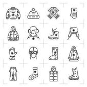 Trendy winter clothes isolated line icons set sport snowboarding ski