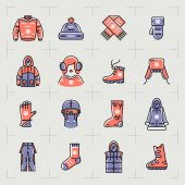 Trendy winter clothes isolated line icons set sport outline sportswear