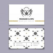 Massage and spa therapy business card template trendy line icon
