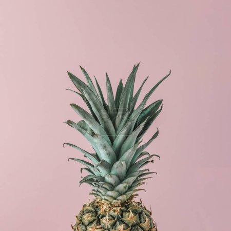 Photo pour Ananas frais mûrs sur fond pastel rose. Concept fruits minime - image libre de droit