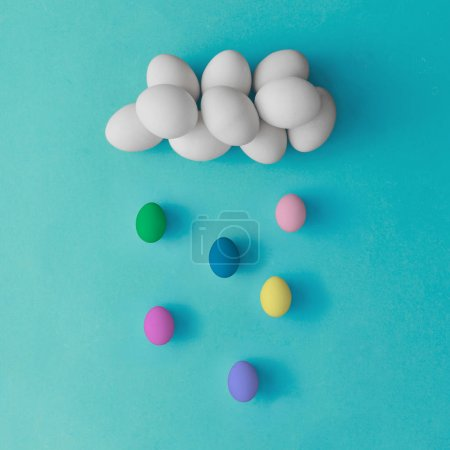 Cloud and rain made of easter eggs