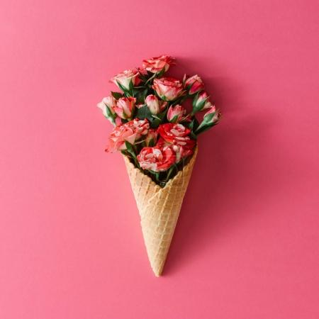 Ice cream cone with rose flowers
