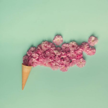 Ice cream cone with pink flowers
