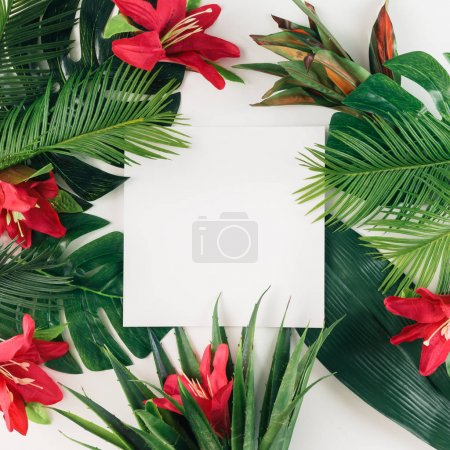 layout made of tropical leaves