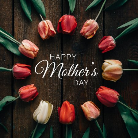 tulips with happy Mothers day text